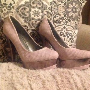 Soft Pink Suede (5.5inch) Platform Heels.